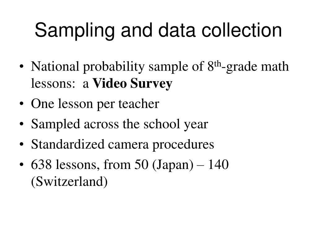 Sampling and data collection