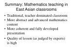 summary mathematics teaching in east asian classrooms
