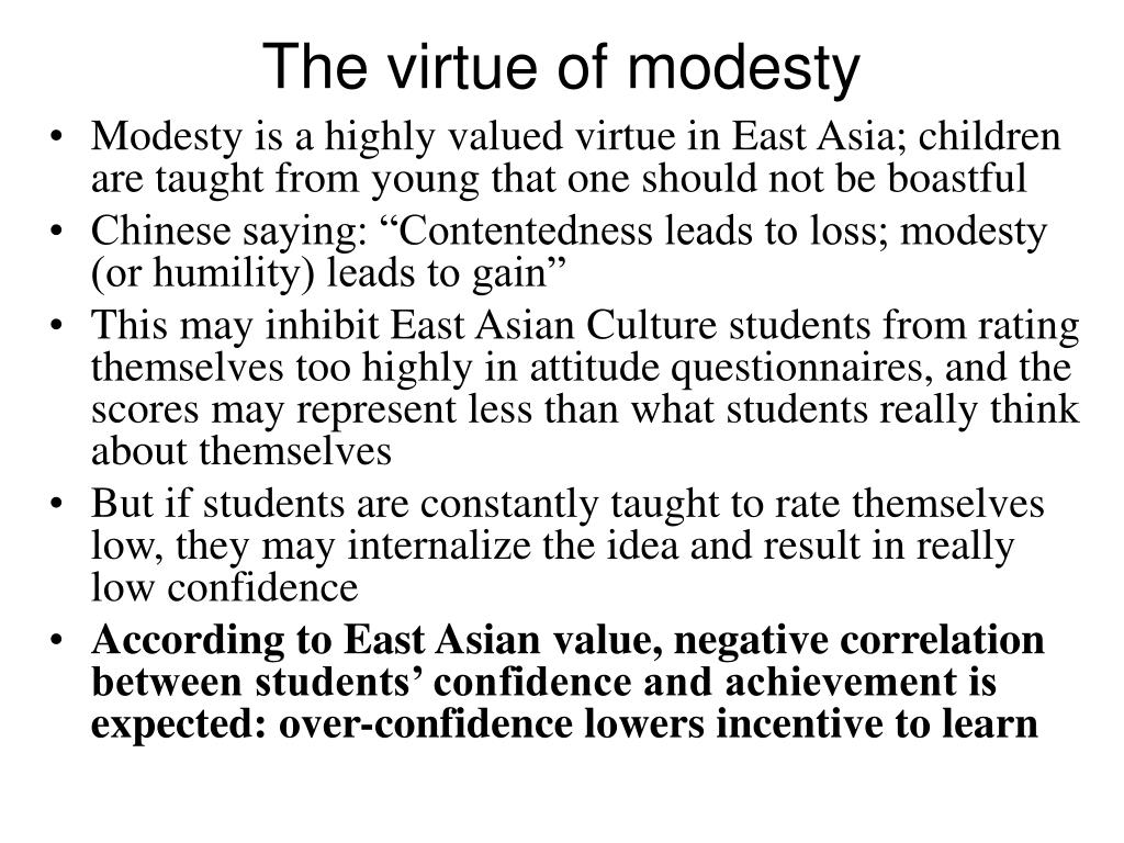 The virtue of modesty