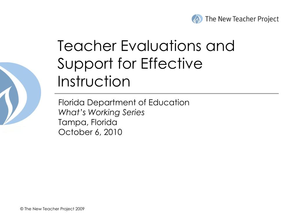 Teacher Evaluations and Support for Effective Instruction