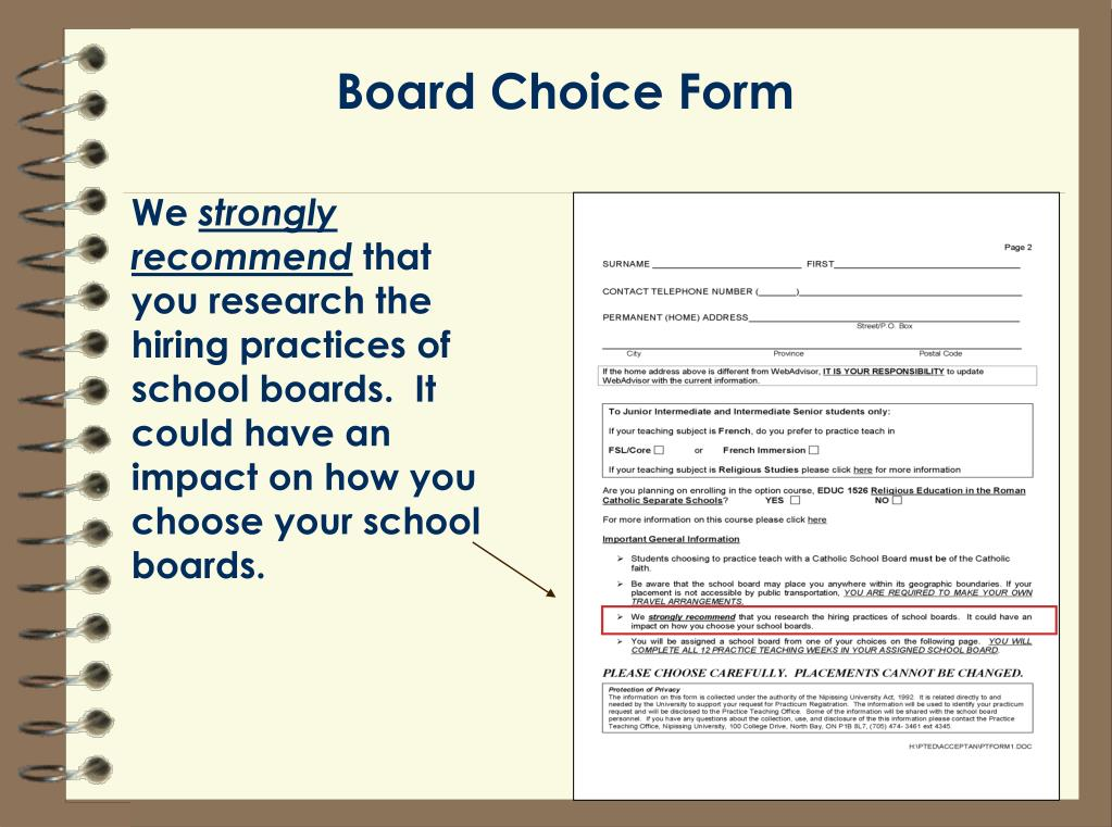 Board Choice Form