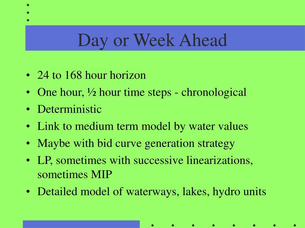 Day or Week Ahead