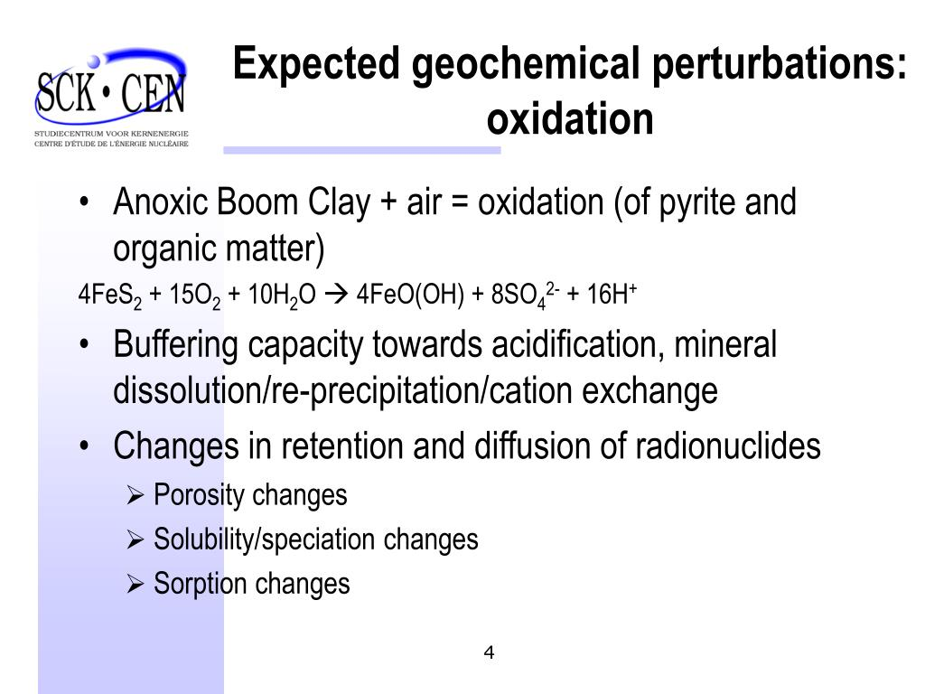 Expected geochemical perturbations: oxidation