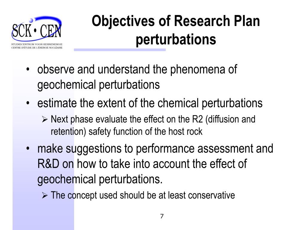 Objectives of Research Plan perturbations