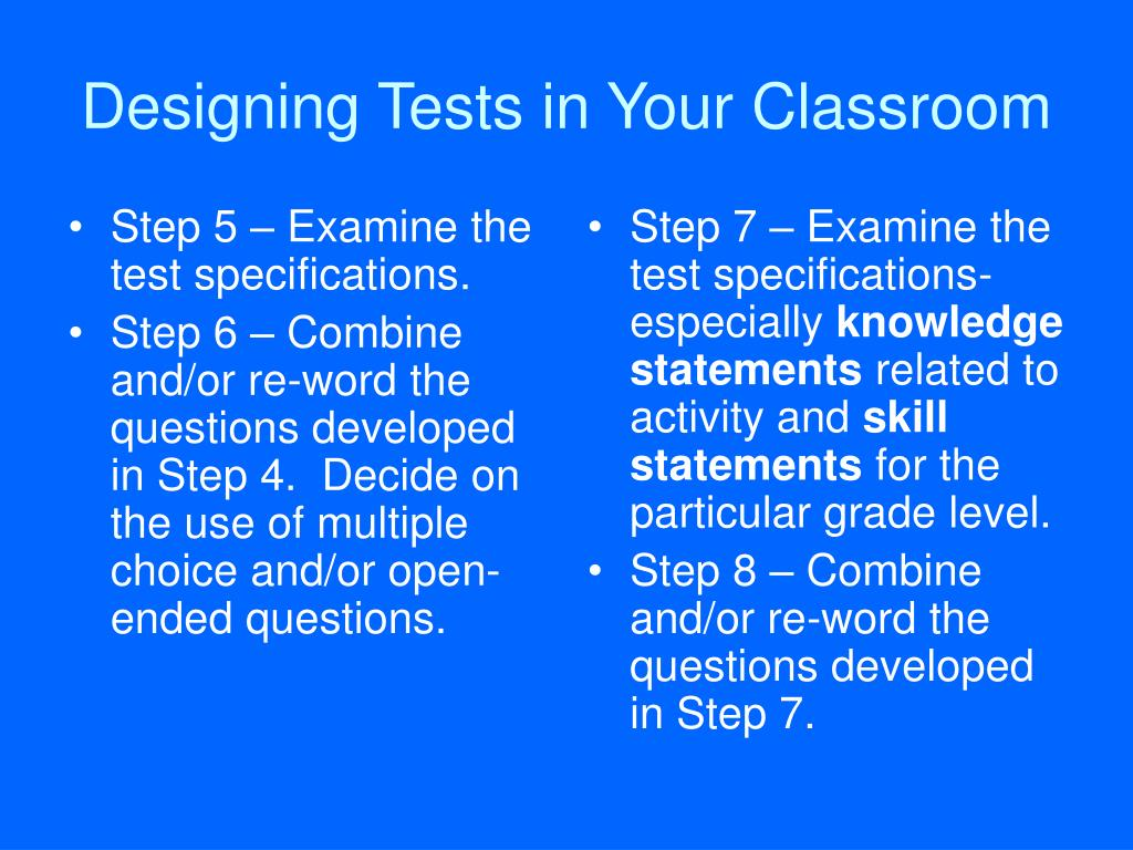 Step 5 – Examine the test specifications.