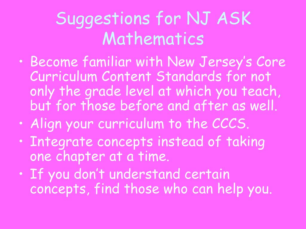 Suggestions for NJ ASK Mathematics