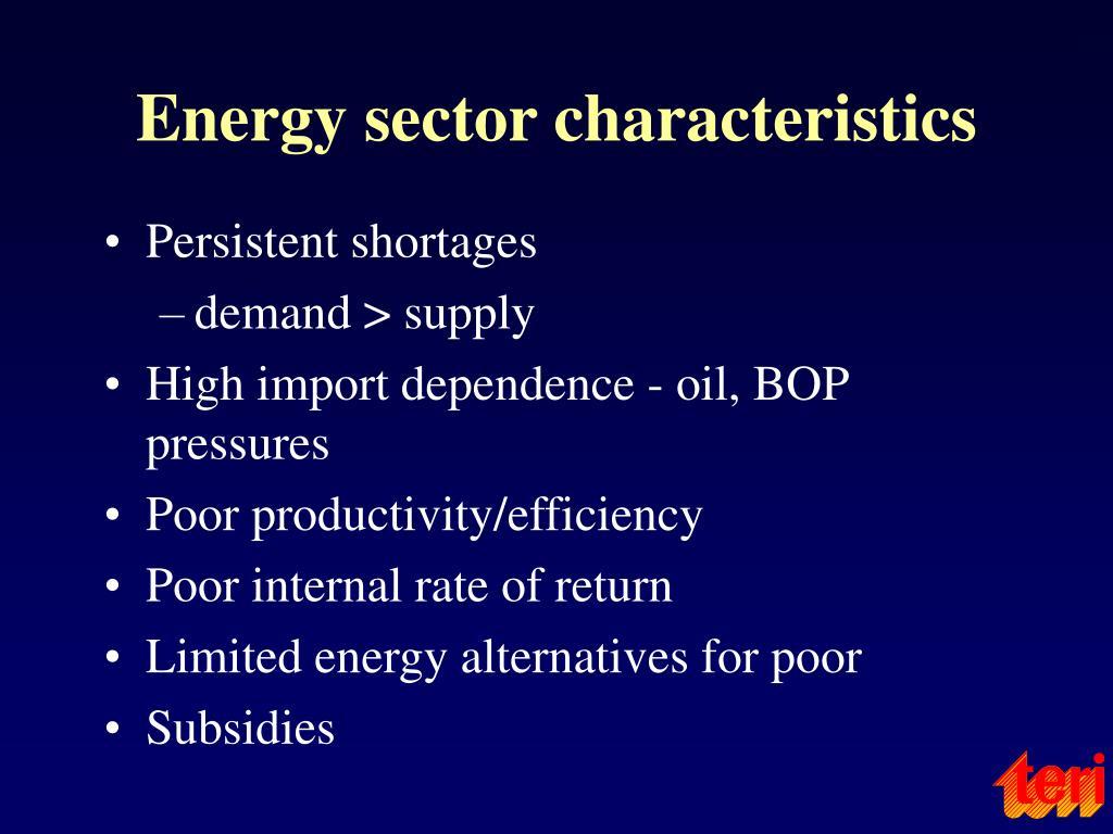 Energy sector characteristics
