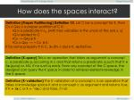 how does the spaces interact