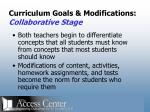 curriculum goals modifications collaborative stage