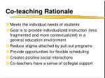 co teaching rationale