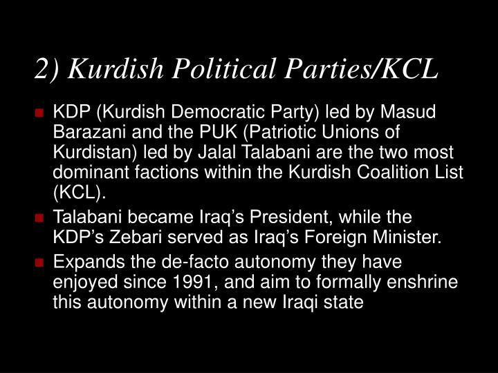 2) Kurdish Political Parties/KCL
