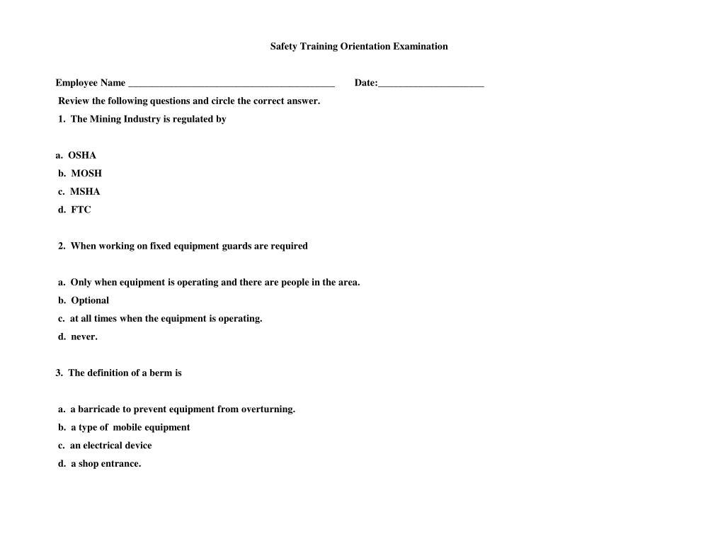 Safety Training Orientation Examination