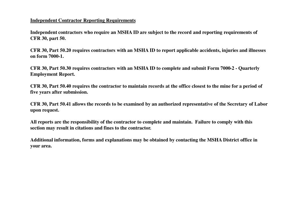 Independent Contractor Reporting Requirements