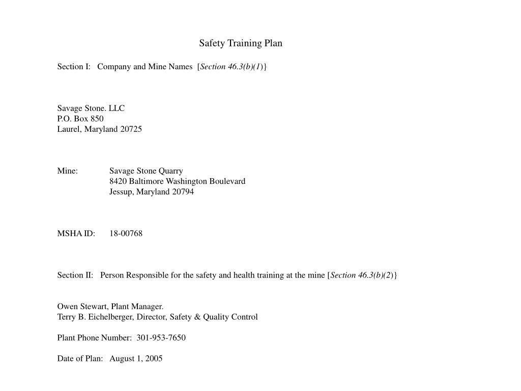 Safety Training Plan
