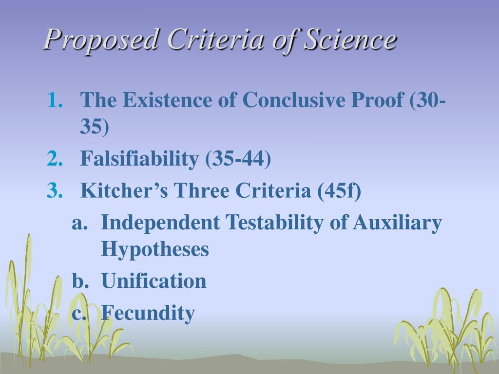 Proposed Criteria of Science