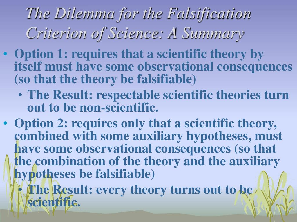 The Dilemma for the Falsification Criterion of Science: A Summary
