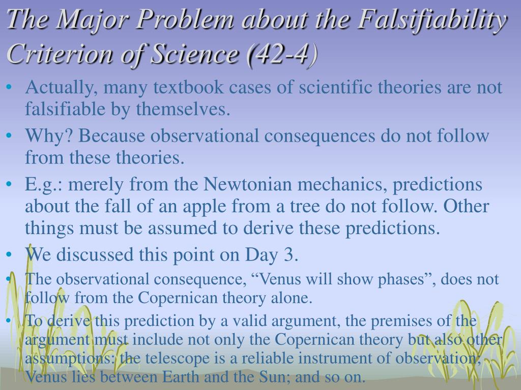 The Major Problem about the Falsifiability Criterion of Science (42-4)