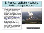 l puiseux la babel nucl aire paris 1977 pp 242 243