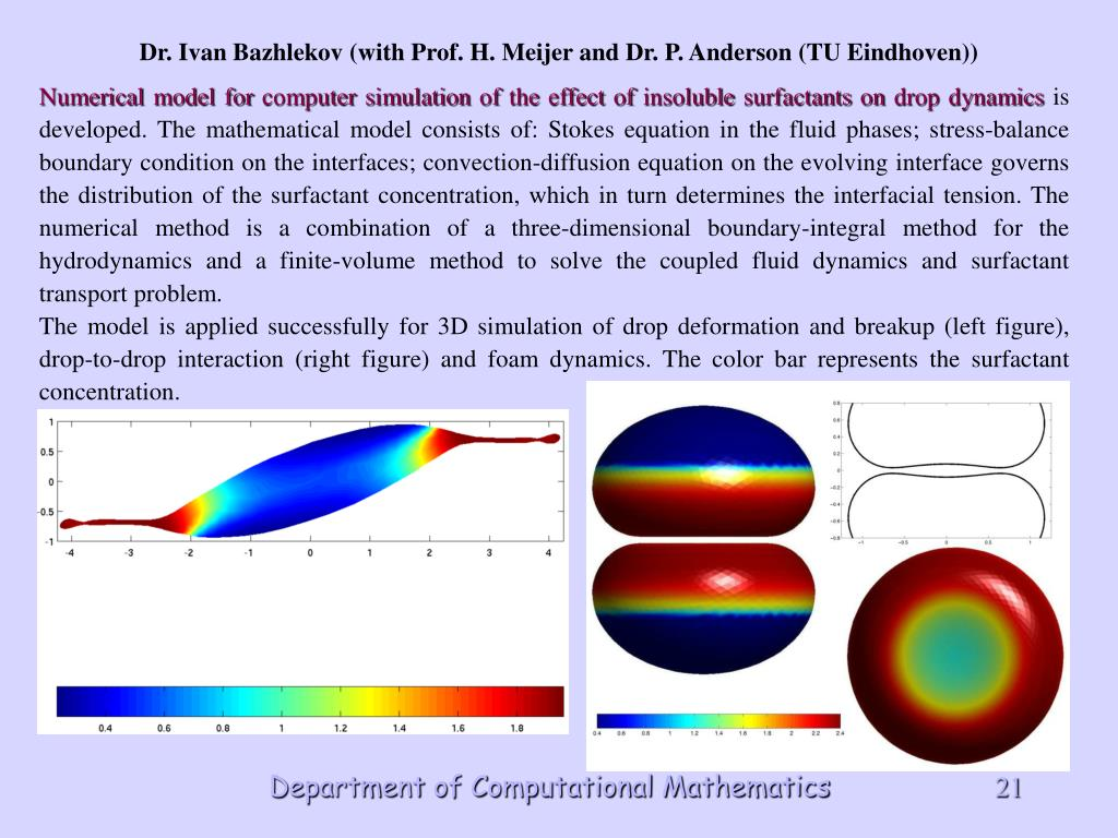 Numerical model for computer simulation of the effect of insoluble surfactants on drop dynamics