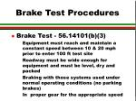 brake test procedures