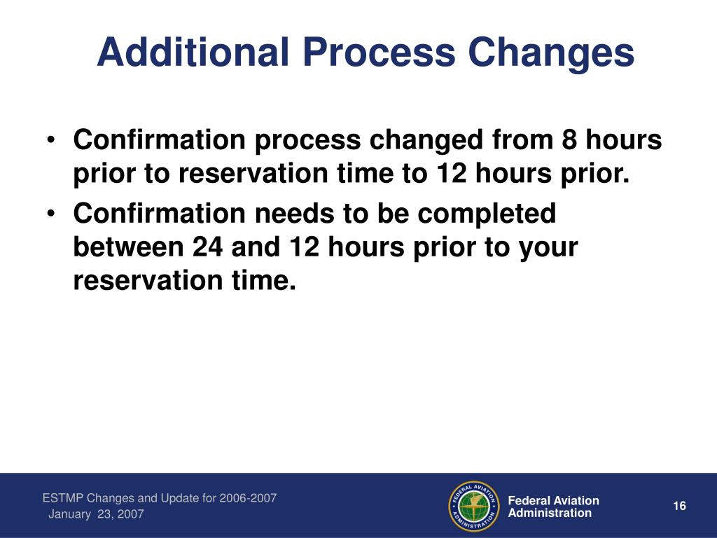 Additional Process Changes