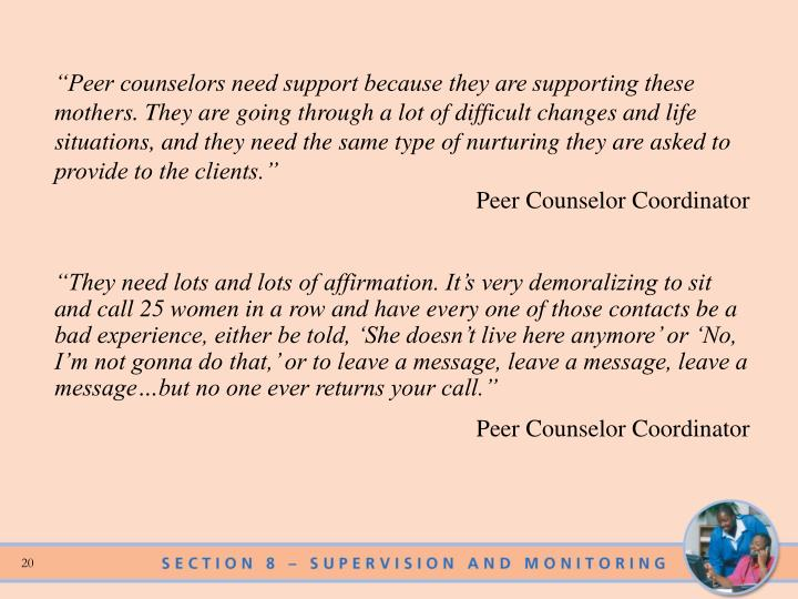 """""""Peer counselors need support because they are supporting these mothers. They are going through a lot of difficult changes and life situations, and they need the same type of nurturing they are asked to provide to the clients."""""""