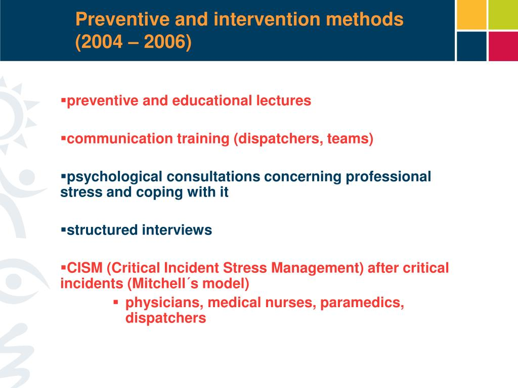 Preventive and intervention methods