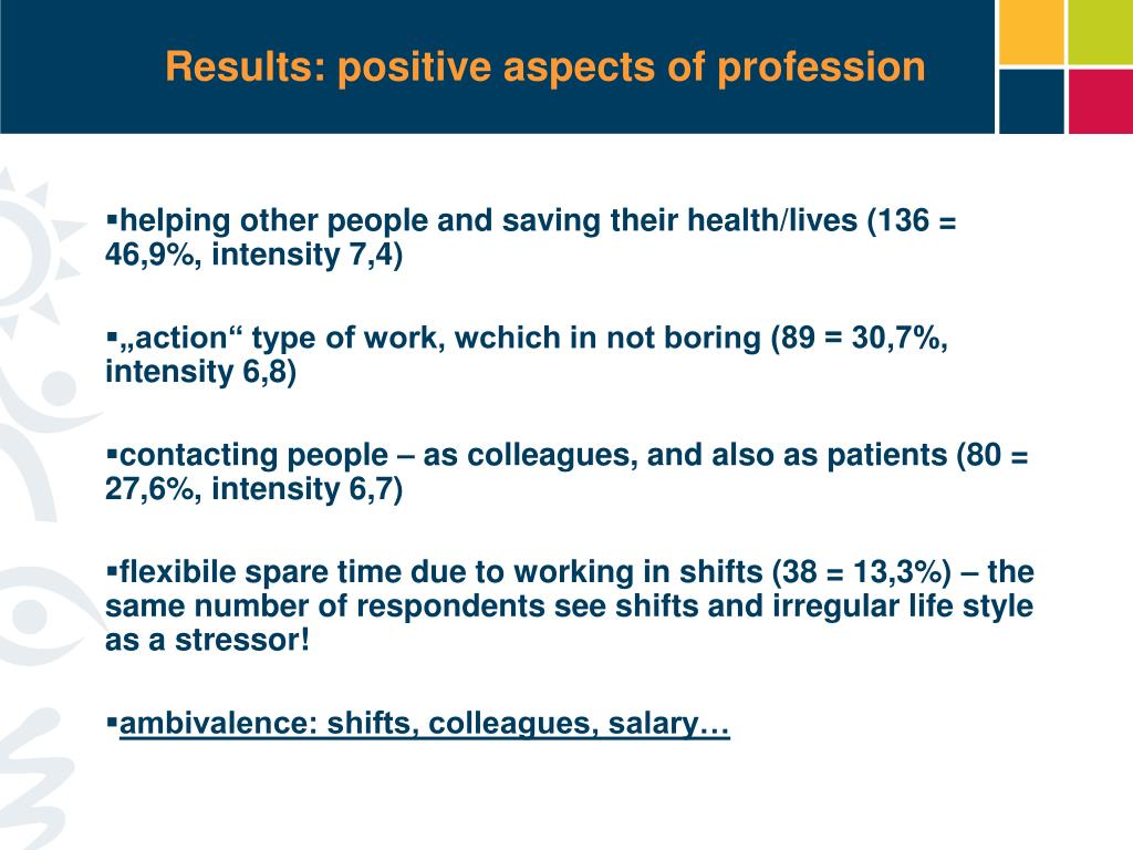 Results: positive aspects of profession