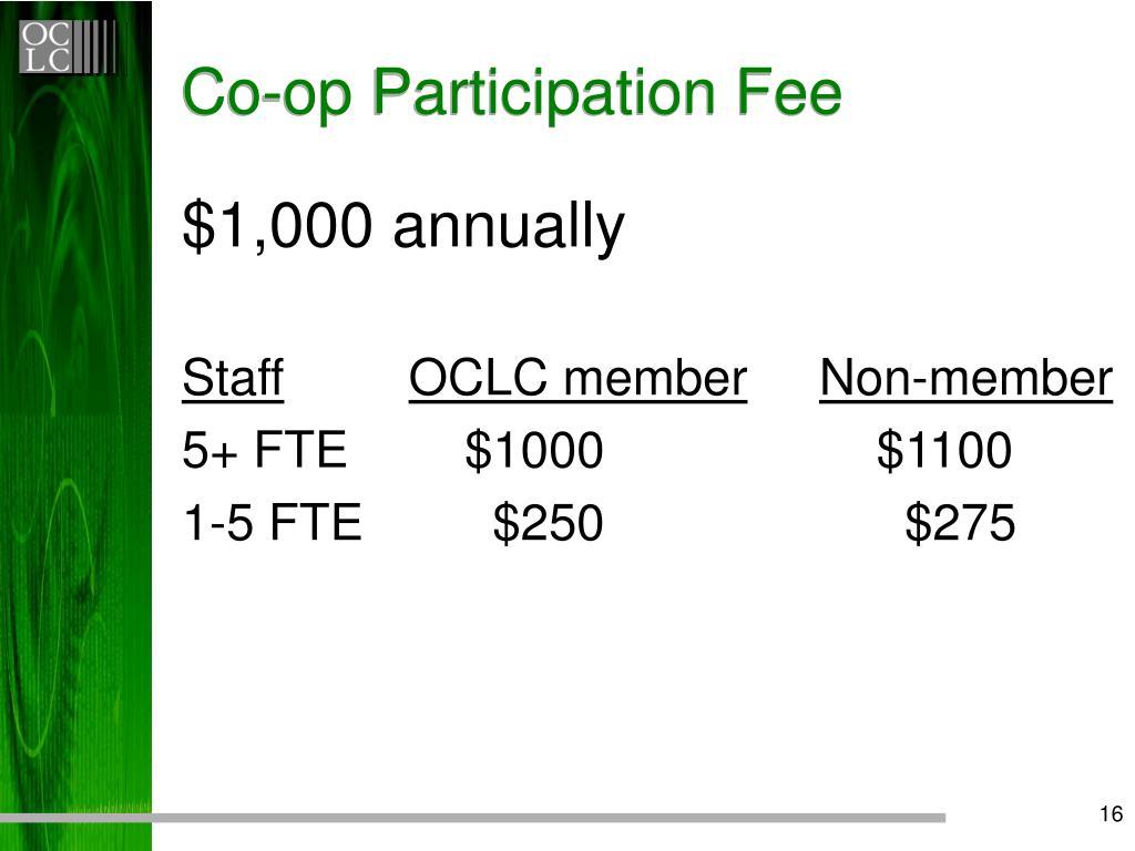 Co-op Participation Fee