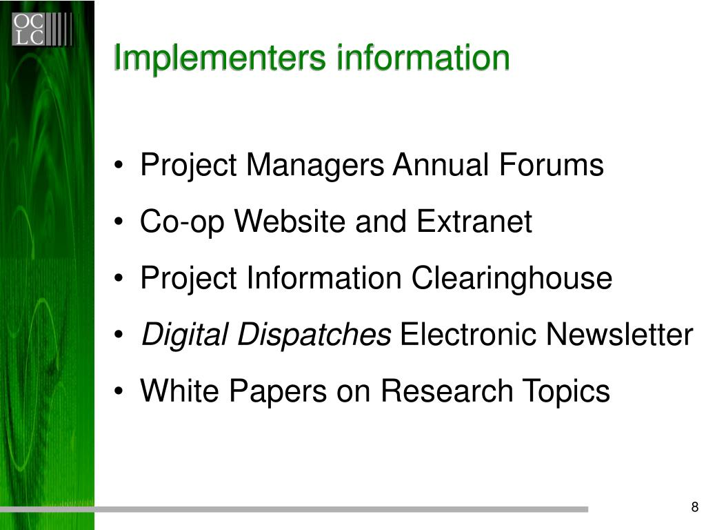 Implementers information