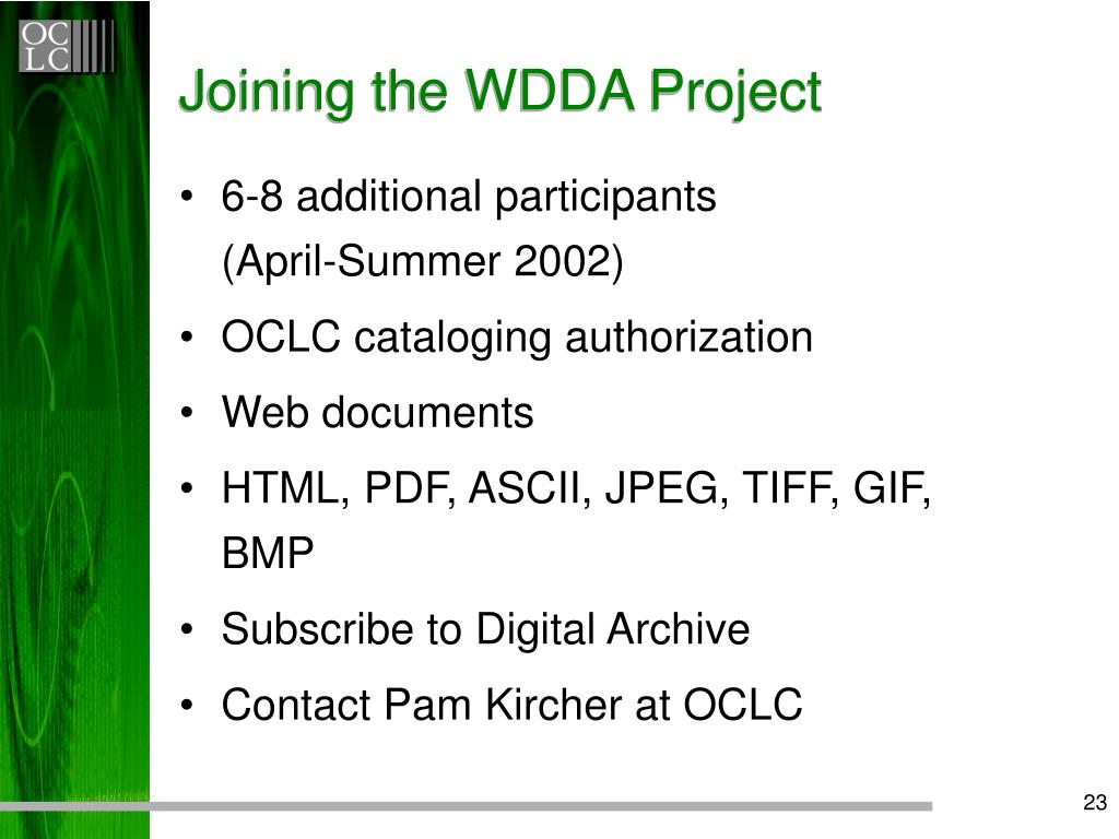 Joining the WDDA Project
