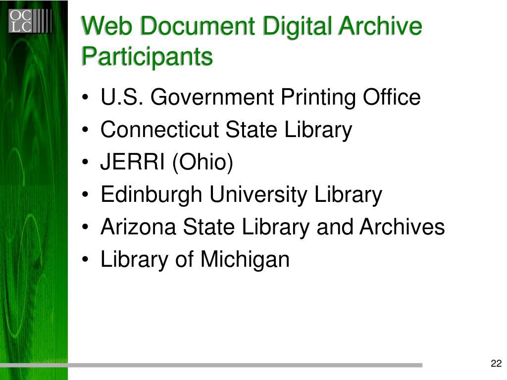Web Document Digital Archive Participants