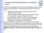 points arbitrators need to consider cont12
