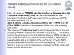 points arbitrators need to consider cont13
