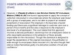 points arbitrators need to consider cont15