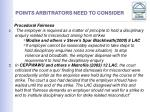points arbitrators need to consider