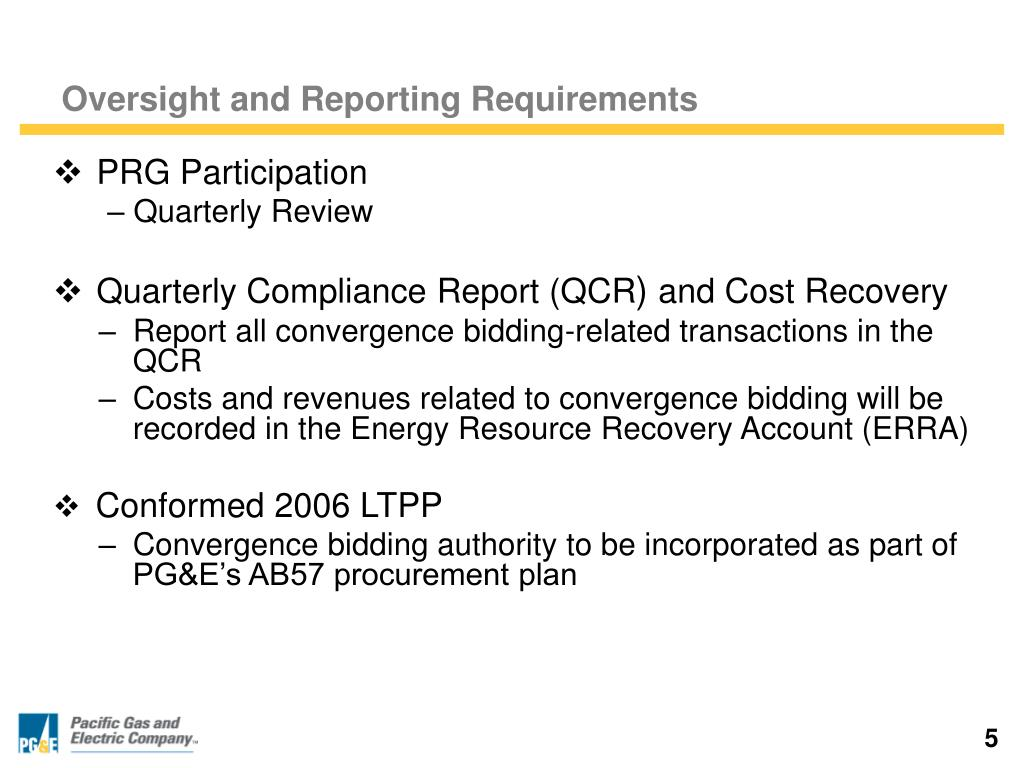 Oversight and Reporting Requirements