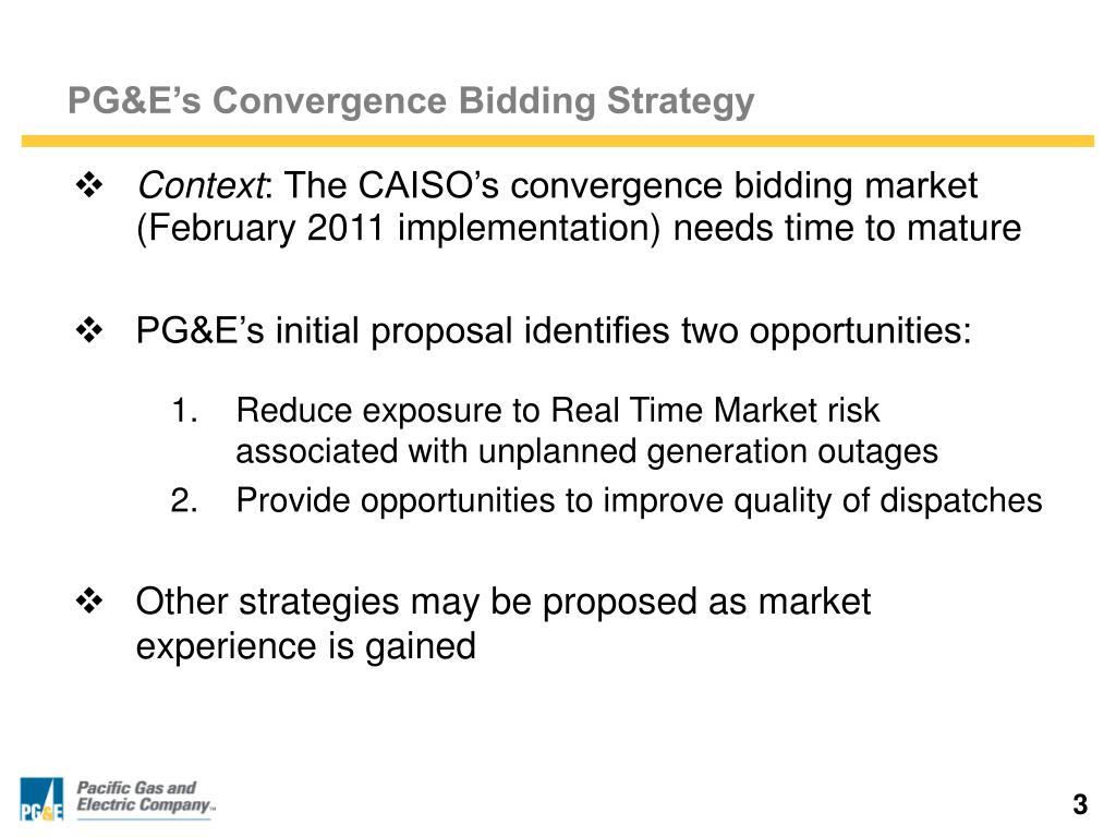 PG&E's Convergence Bidding Strategy