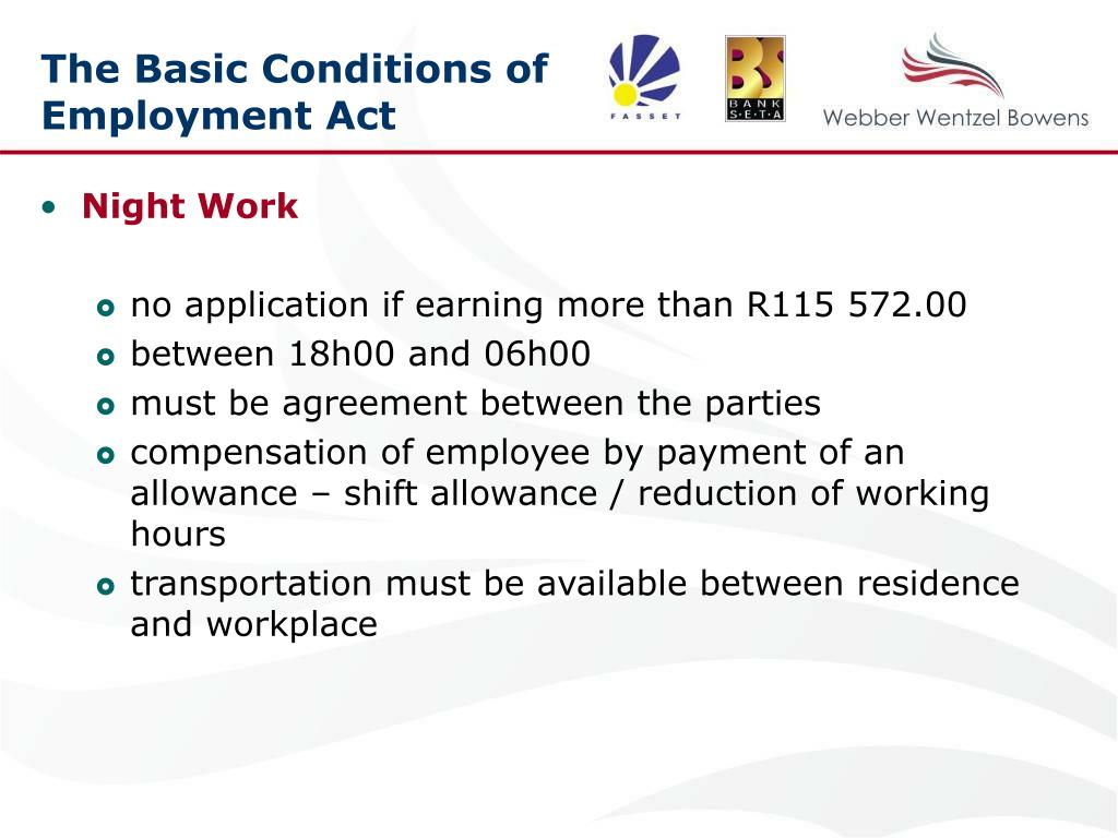 The Basic Conditions of Employment Act