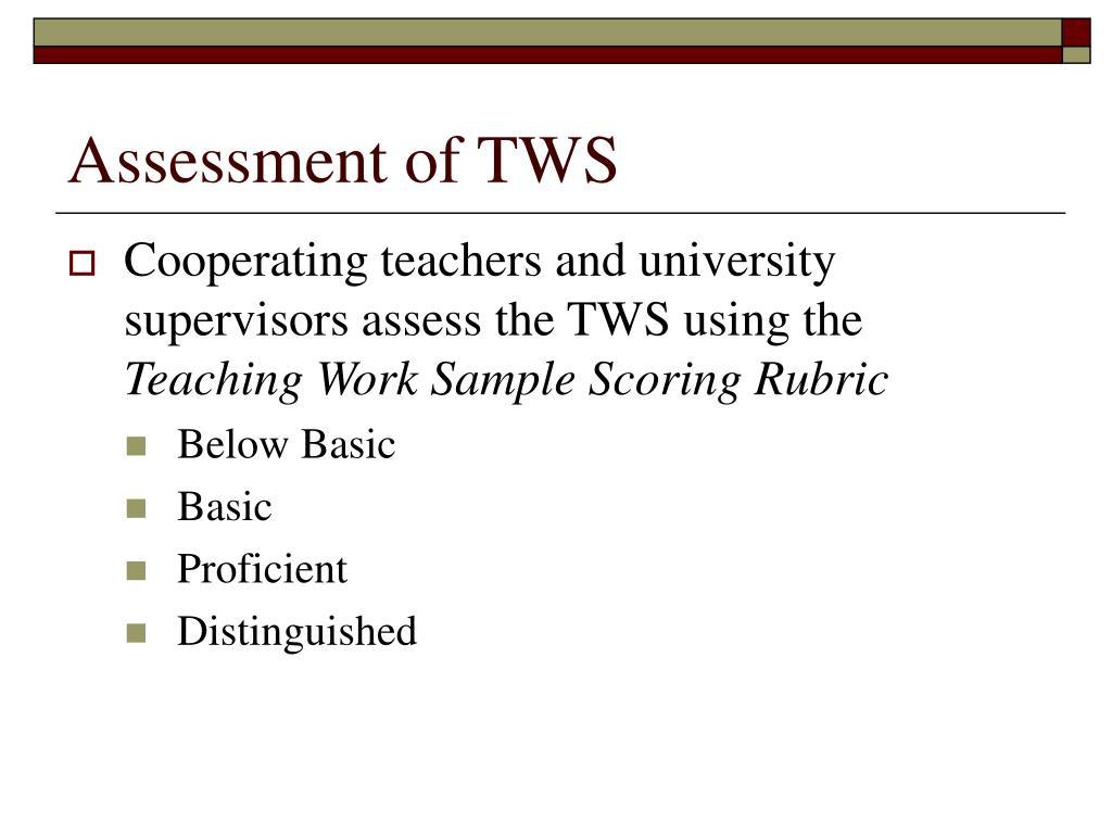 Assessment of TWS