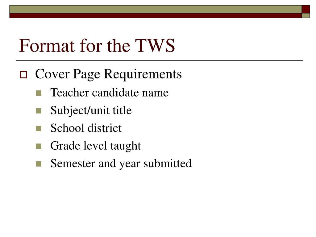 Format for the TWS