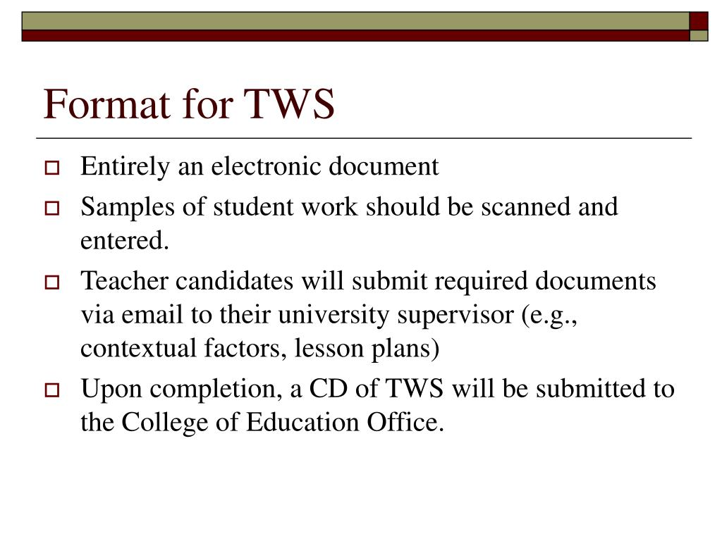 Format for TWS