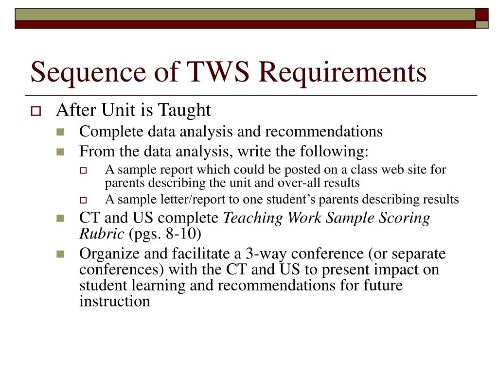 Sequence of TWS Requirements