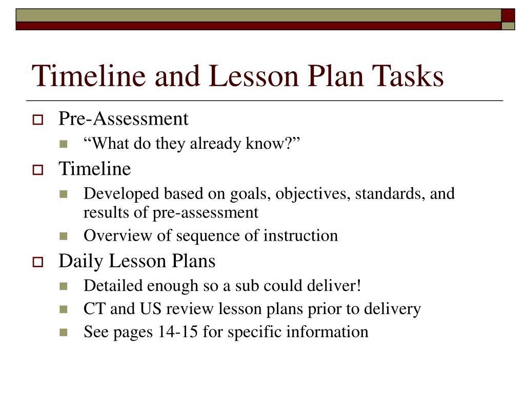 Timeline and Lesson Plan Tasks