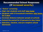 recommended school responses if increased severity