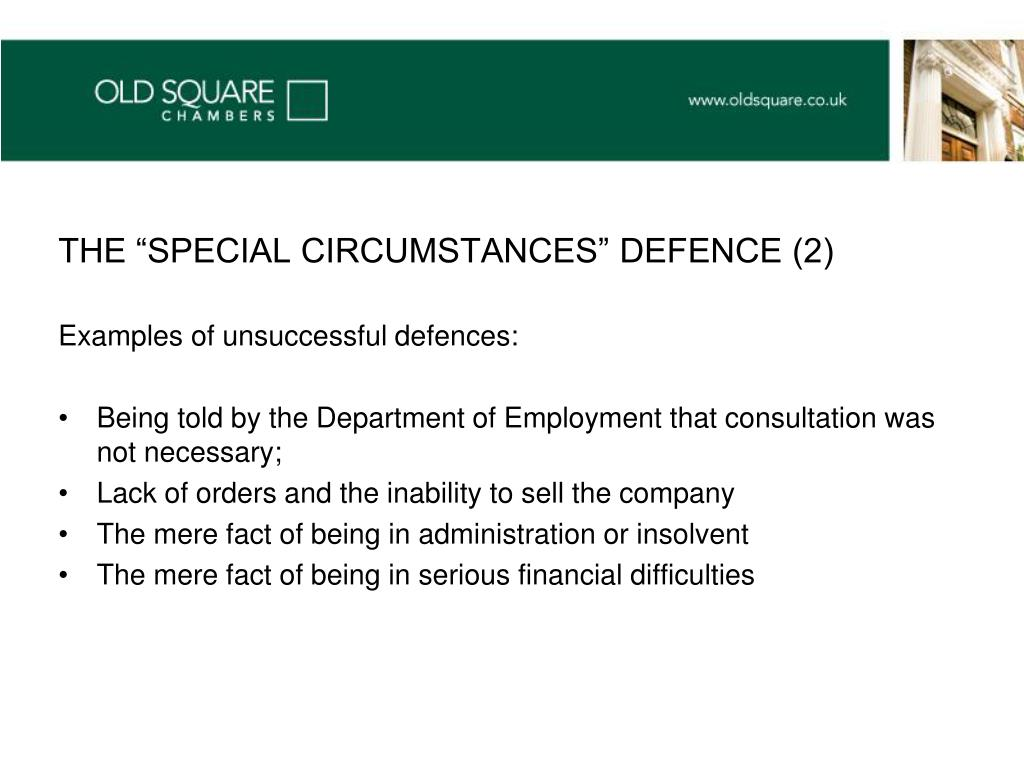 "THE ""SPECIAL CIRCUMSTANCES"" DEFENCE (2)"