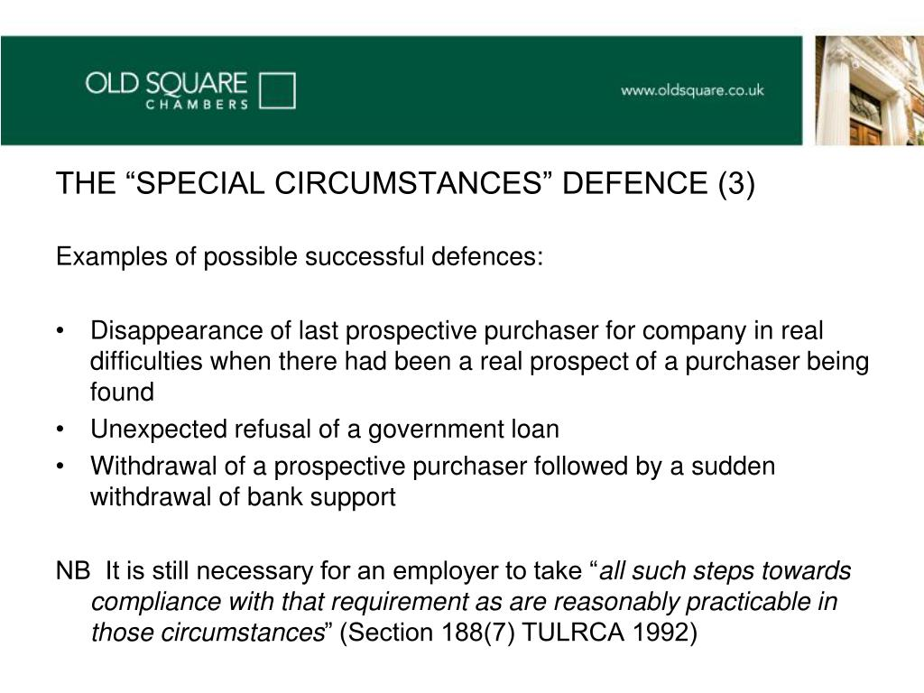 "THE ""SPECIAL CIRCUMSTANCES"" DEFENCE (3)"