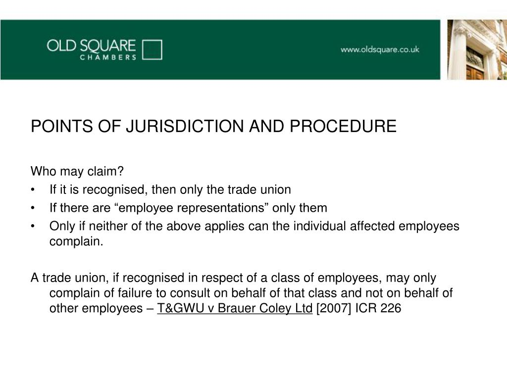 POINTS OF JURISDICTION AND PROCEDURE