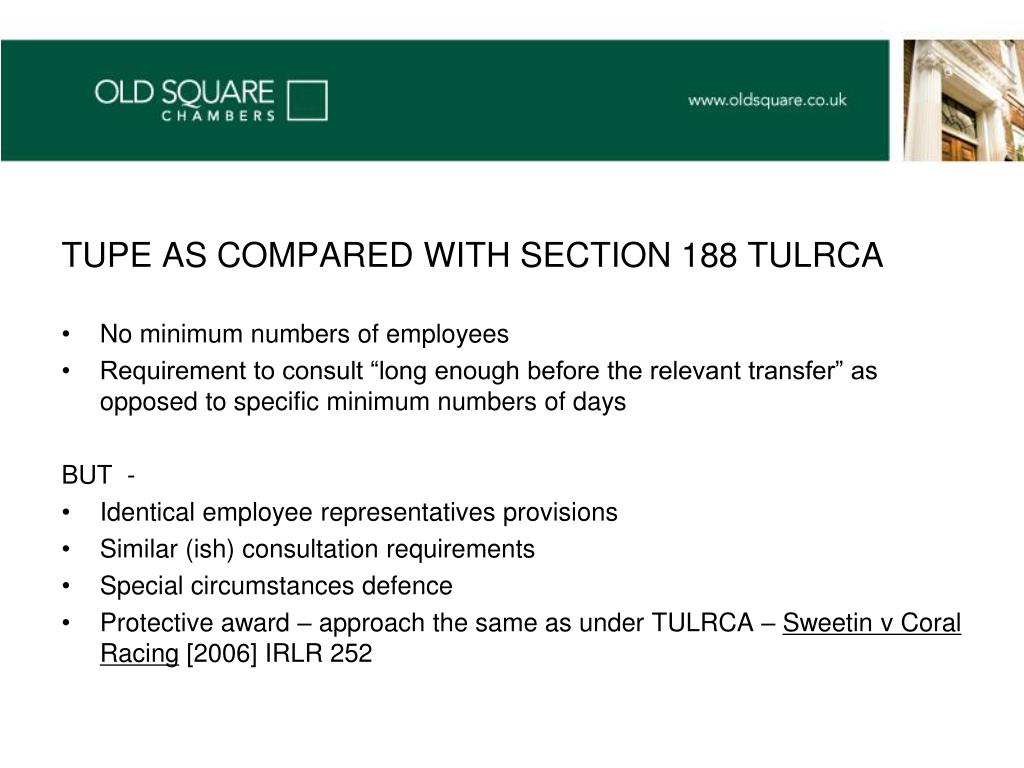 TUPE AS COMPARED WITH SECTION 188 TULRCA