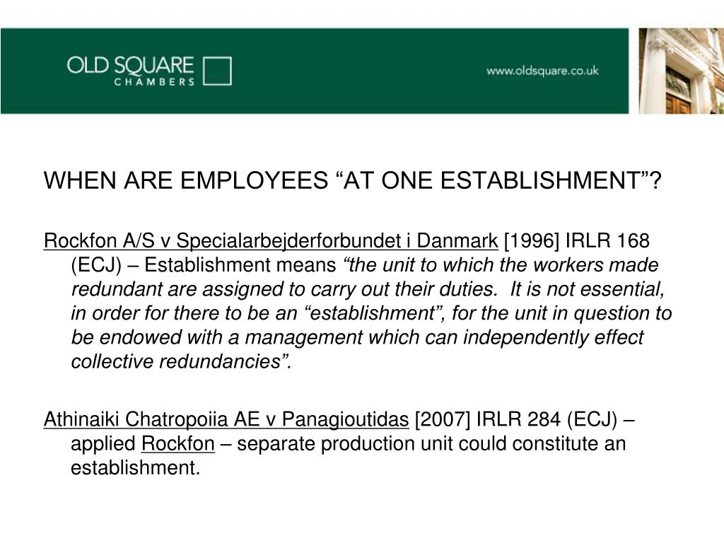 "WHEN ARE EMPLOYEES ""AT ONE ESTABLISHMENT""?"